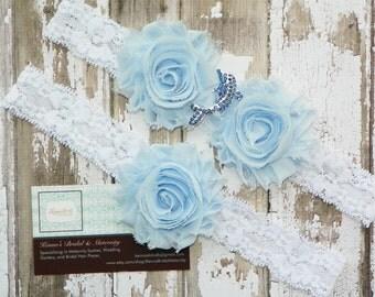 Dolphin Wedding Garters, Porpoise Garter Set, Rhinestone Dolphin, Beach Wedding, Destination Wedding, White Lace Garter, Ocean Wedding, Blue