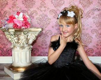 Black White Headband, Flower Girl Headband, Formal Headband, Wedding Headband, Bridal Headband, Black White Wedding, Flower Crown, Adult