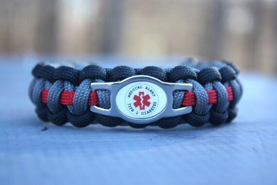 alert type 2 diabetes paracord bracelet by