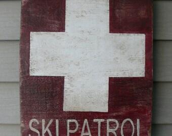 Reclaimed wood sign,  wood sign, Ski Patrol distressed wood sign