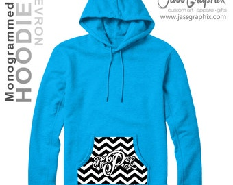 Monogrammed  Hoodies with chevron. An original design of ours & is a sure fire hit. We offer this hoodie in 13 colors. Youth - adult sizes.
