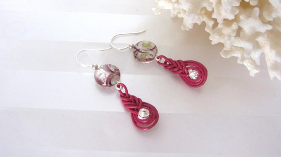 marsala earrings leather cord pipa knots with glass and