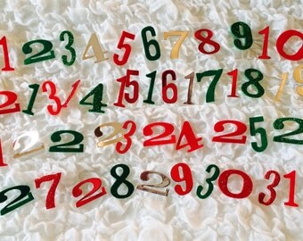 1 to 31 number cards for advent calendar, december daily, Christmas projects, scrapbooking; customizable for colors and materials