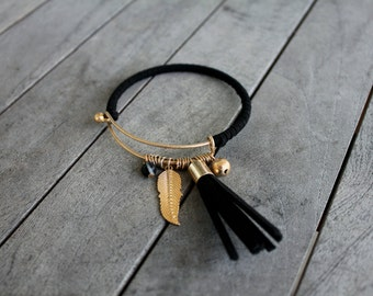 Gold & Black Suede Bangle Bracelet with Tassel and Charms. Perfect for Stacking!