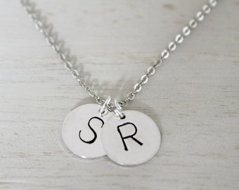 Handmade Stamped Initial Charm Necklace