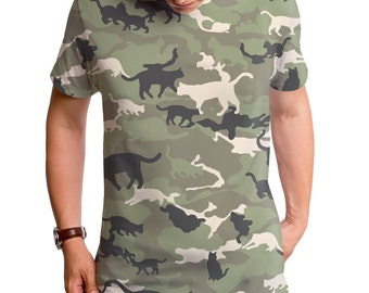 Catmouflage (GT3589-306SUB) Men's T-shirt. Cats, mens cat tees, kittens, kitty, men's cute tees, camouflage, camo tees, cat tees, military.