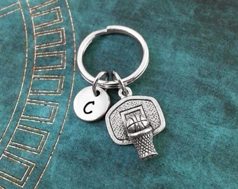 Basketball Keychain, Personalized Necklace, Basketball Pendant, Custom Basketball Keyring Basketball Hoop Keychain Basketball Charm Necklace