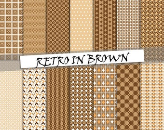 Retro brown digital paper: retro and geometric patterns in brown color; for commercial use