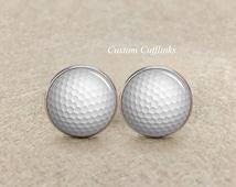 Golf Cufflinks,Golf Ball cufflinks, Golf Jewelry,Personalised Golf Cufflinks, wedding cuff links,Custom Wedding Cufflinks, Father's Day gift
