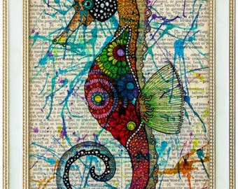 Paisley seahorse marine life art   on 8x10 upcycled dictionary page, buy 1 get 1 FREE of your choice!