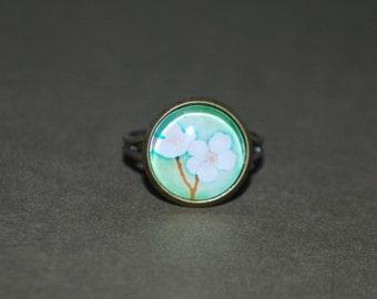 Adjustable ring - cherry blossom