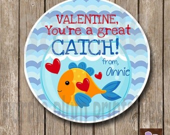 Personalized - You're a Great Catch Valentine -Fish Valentine Class Tag - Print at Home