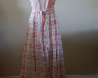 Sleeveless Vintage 60s Maxi Dress by Helen Howell Originals Pink and Periwinkle Stripe Size Medium M-693