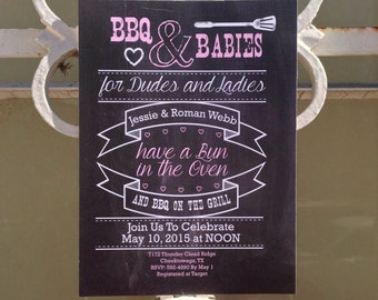 BBQ Baby Shower, Baby Shower Invite, Couples Baby Shower, Chalkboard, Coed Baby Shower, Summer Baby, Dudes & Ladies BBQ Baby Shower Invite