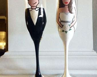 Bride Groom Flute Set - Custom Painted - Hand Painted Flute Set