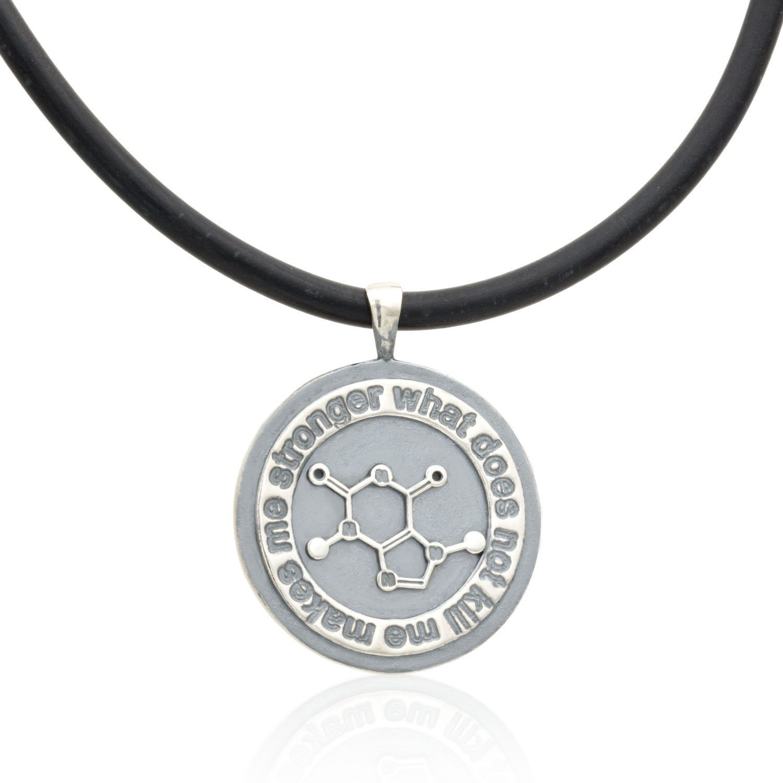 sale caffeine molecule necklace oxidized sterling silver