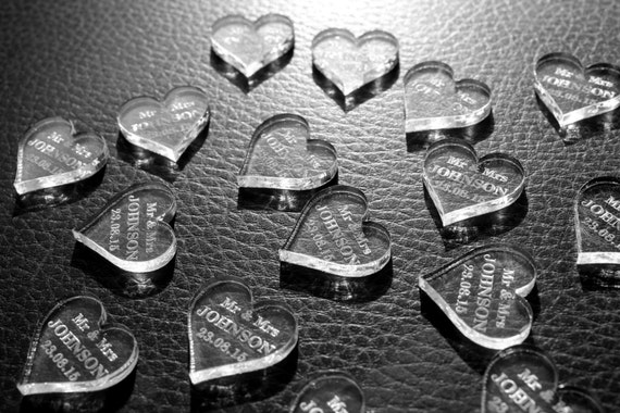 Personalised 3mm Clear Acrylic Love Heart Wedding Table Decoration Mr & Mrs Favours