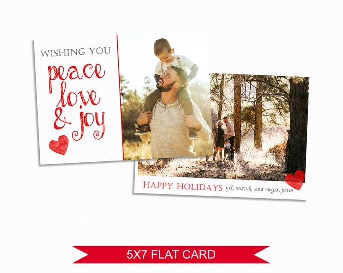 Christmas Card Template - 5x7 Photo Card - Photoshop Template - INSTANT DOWNLOAD or Printable - CC06