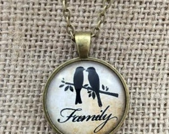 SALE! Family with Love Birds Glass Pendant Necklace with Chain