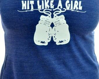 Hit Like a Girl racerback tri-blend tank