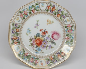 Early 1900's R W Bavaria Compote, Porcelain with Reticulated and Scalloped Edge,  Polychrome Variety of Floral Decoration