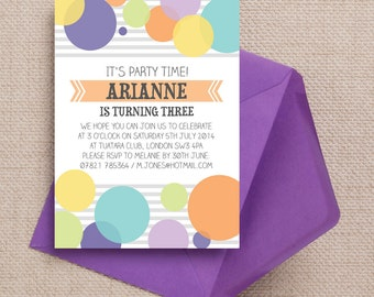 Pastel and White Dotty Delight Kids Party Invitation Cards