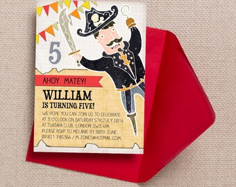 Red, Yellow and Orange Pirate Kids Party Invitation Cards