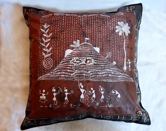 Traditional Brown Hand Painted Warli Design 12 X 12 Luxury Cushion Cover