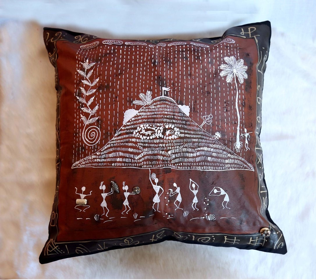Traditional Brown Hand Painted Warli Design 12 X 12 Luxury Cushion Cover. Hand painted pillow   Etsy