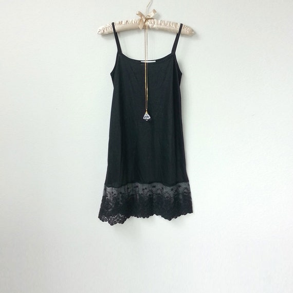 Black Lace Slip Extender, Skirt Extender Slip Dress with Sheer Lace ...