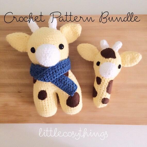 Giraffe George Amigurumi : Giraffe Pattern BUNDLE Stuffed Animal George AND Mini George