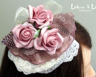 Fascinator, Hair Accessory, Ivory Cream with Dusky Pink Rose Flowers & Feathers to suit Mother of the Bride or Wedding.