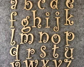 Curlz Font Alphabet Set 3mm Plywood Lower Case Letters A-Z 26 Characters