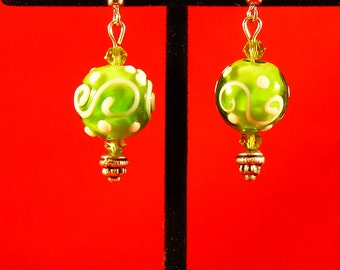 Green Swirl Lampwork Beaded Earrings