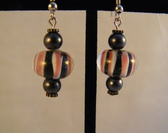 Black, White and Pink Striped Earrings