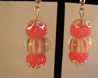 Pink and White Striped Earrings