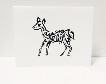 Deer Card Arabic Calligraphy Original any occasion set (Doe) (blank inside, folded card)