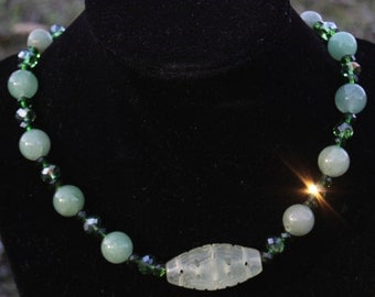 Exquisite Hand Made, Designed Beaded Necklace Has Large Jade Beads, Green Best Quality Crystals, And A Large Opulent Engraved Marble Center