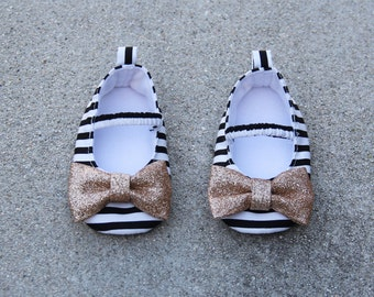 Baby Shoes Satin Striped Shoes Black White Ballet Flat Crib Shoes Christening Baby Shoes Flower Girl Shoes