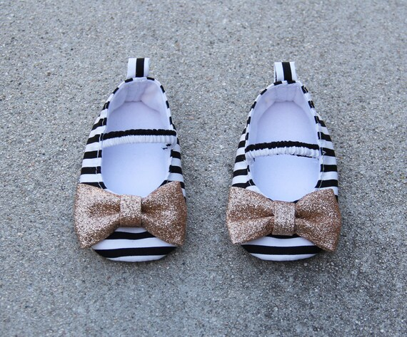 baby shoes satin striped shoes black white ballet flat crib