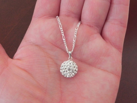 """Sterling Silver Round Shape Stone Pendant with Faceted Crystal and Sterling Silver Necklace, Sterling Silver Pendant, 20"""" 1mm Silver Chain"""