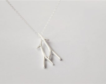 Silver tree branch necklace, 925 sterling silver filled (XL46)