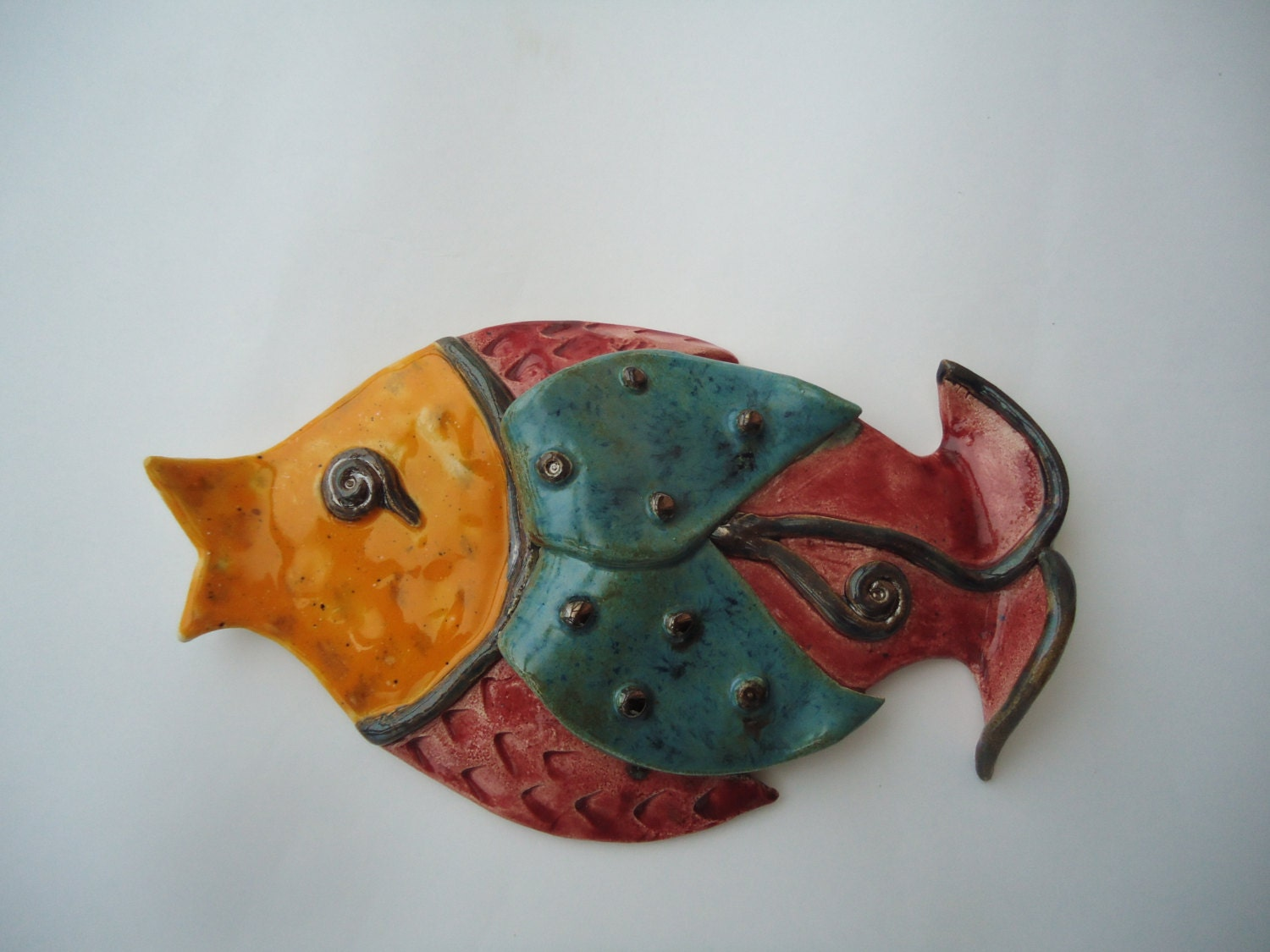 Wall Decor With Fish : Wall fish ceramic art pisces home by clayana