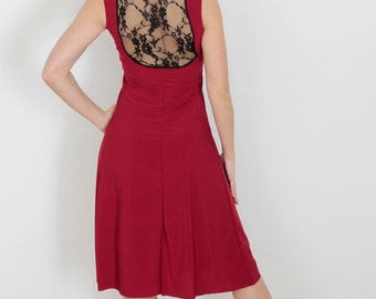 Red or black tango dress with black lace on the back
