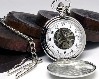 Custom Engraved Silver Skeleton Pocket Watch - Gift Boxed PW-1-M-ARB