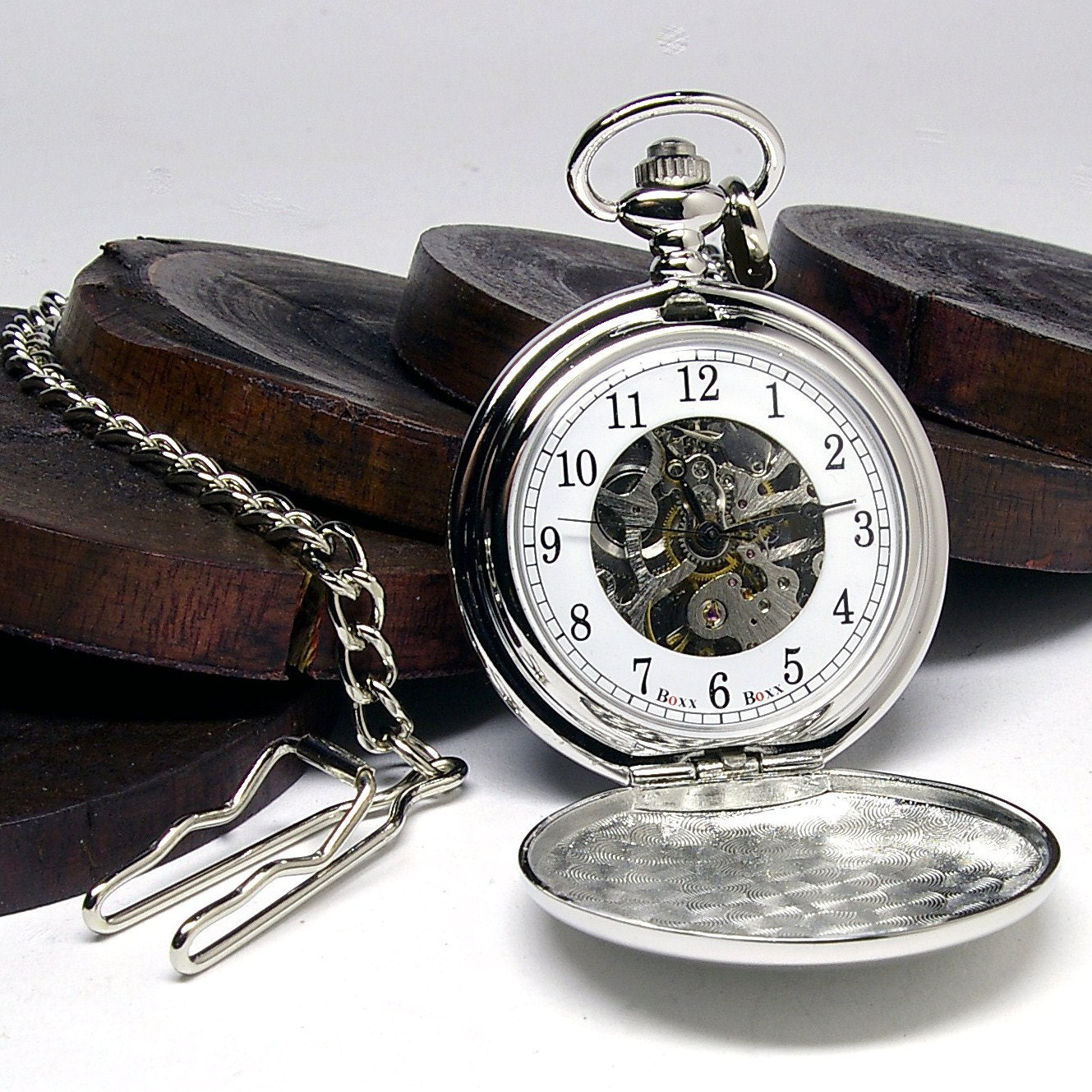 Custom engraved silver skeleton pocket watch gift boxed for Watches engraved