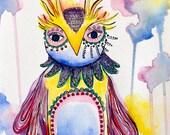 Wise whimsical owl, children's room art, watercolor illustration 8 x 10 print