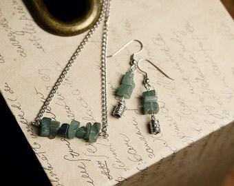 Green Gemstone Jewelry, Green Necklace and Earrings, Minimalist Necklace and Earrings, Green Aventurine Jewelry Set, Ethnic Matching Jewelry