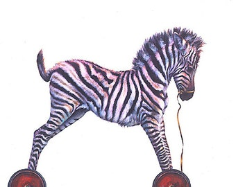 Birthday Cards, Greeting Card, Child's Birthday Card, Zebra, Blank Greeting Card, Rollin Baby Card, Child Birthday Card