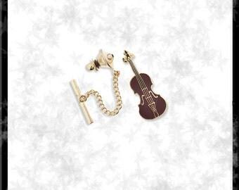 Gold & Cloisonné Viola Tie Tack